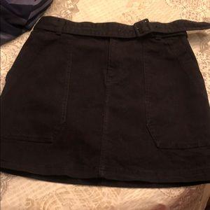 Belted black soft jean skirt